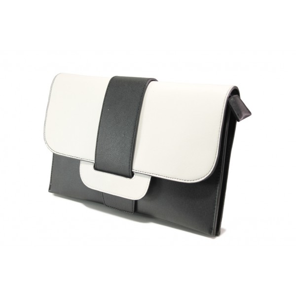 Елегантна дамска чанта клъч ФР 477 черен-бял   Дамска чанта   MES.BG