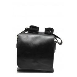Българска мъжка чанта от естествена кожа КН 3 черен | Мъжка чанта | MES.BG