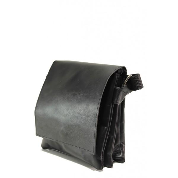 Българска мъжка чанта от естествена кожа КН 1 черен | Мъжка чанта | MES.BG