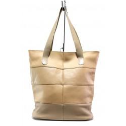 Българска дамска чанта от естествена кожа КН 222 бежов | Дамска чанта | MES.BG