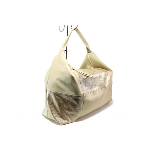 Българска дамска чанта /тип торба/ от естествена кожа КН 1126 злато | Дамска чанта | MES.BG