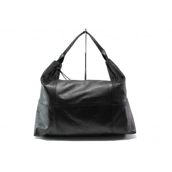 Българска дамска чанта /тип торба/ от естествена кожа КН 1126 черен | Дамска чанта | MES.BG