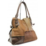 Българска дамска чанта от естествена кожа КН 12 кафяв   Дамска чанта   MES.BG