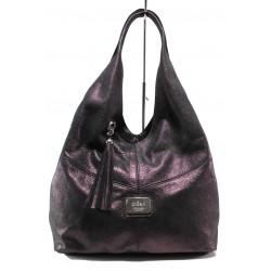 Българска дамска чанта от естествена кожа ЕМИ 100 бордо | Дамска чанта | MES.BG