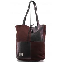 Българска дамска чанта от естествена кожа ЕМИ 101 бордо | Дамска чанта | MES.BG