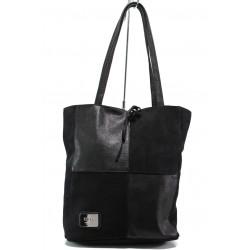 Българска дамска чанта от естествена кожа ЕМИ 101 черен | Дамска чанта | MES.BG