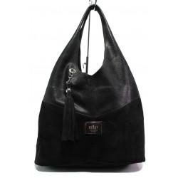 Българска дамска чанта от естествена кожа ЕМИ 100 черен велур | Дамска чанта | MES.BG