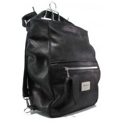 Българска дамска чанта-раница от естествена кожа ЕМИ 102 черен | Дамска чанта | MES.BG