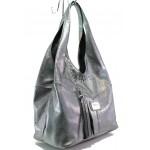 Българска дамска чанта от естествена кожа ЕМИ 100 сребро хамелеон | Дамска чанта | MES.BG