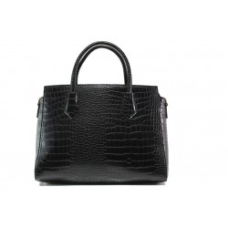 Елегантна дамска чанта с кроко мотив ФР 8584 черен | Дамска чанта | MES.BG
