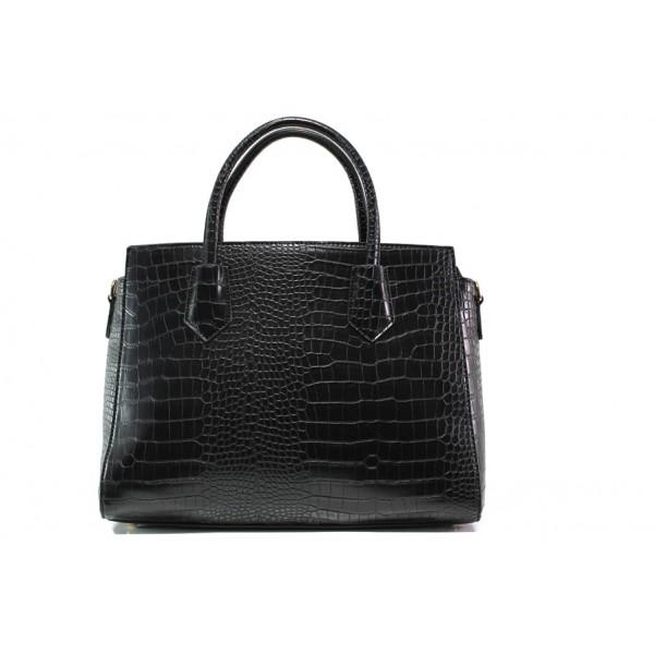 Елегантна дамска чанта с кроко мотив ФР 8584 черен   Дамска чанта   MES.BG