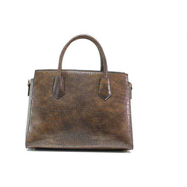 Елегантна дамска чанта с кроко мотив ФР 8584 кафяв | Дамска чанта | MES.BG