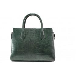 Елегантна дамска чанта с кроко мотив ФР 8584 зелен | Дамска чанта | MES.BG