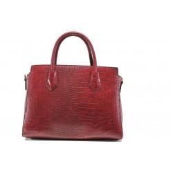 Елегантна дамска чанта с кроко мотив ФР 8584 бордо | Дамска чанта | MES.BG
