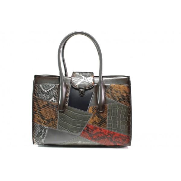 Модерна дамска чанта с кроко мотив ФР 2920 сив | Дамска чанта | MES.BG