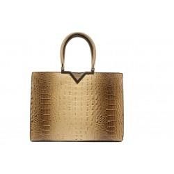 Елегантна дамска чанта с кроко мотив ФР 98781 кафе | Дамска чанта | MES.BG