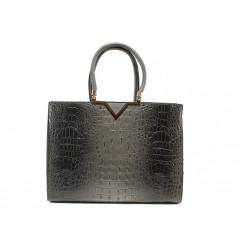 Елегантна дамска чанта с кроко мотив ФР 98781 сив | Дамска чанта | MES.BG
