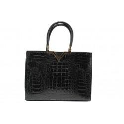 Елегантна дамска чанта с кроко мотив ФР 98781 черен | Дамска чанта | MES.BG