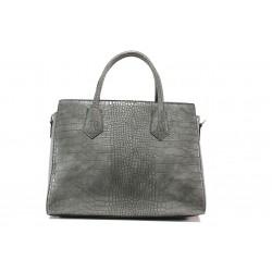 Елегантна дамска чанта с кроко мотив ФР 8584 сив | Дамска чанта | MES.BG