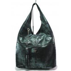 Българска дамска чанта от естествена кожа ЕМИ 100 зелен | Дамска чанта | MES.BG
