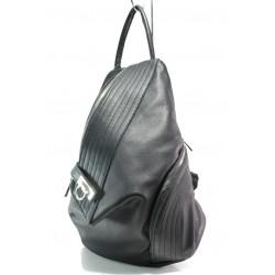 Българска дамска раница от естествена кожа ЕМИ 103 черен | Дамска чанта | MES.BG