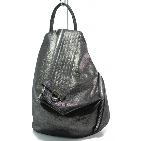 Българска дамска раница от естествена кожа ЕМИ 103 графит   Дамска чанта   MES.BG