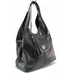 Българска дамска чанта от естествена кожа ЕМИ 100 графит | Дамска чанта | MES.BG