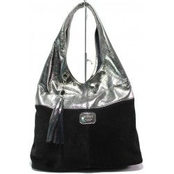 Българска дамска чанта от естествена кожа и велур ЕМИ 100 черен-сребро | Дамска чанта | MES.BG
