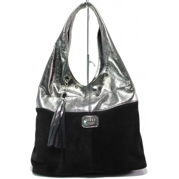 Българска дамска чанта от естествена кожа и велур ЕМИ 100 черен-сребро   Дамска чанта   MES.BG