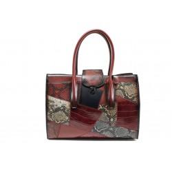 Модерна дамска чанта с кроко мотив ФР 2920 бордо   Дамска чанта   MES.BG