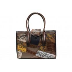 Модерна дамска чанта с кроко мотив ФР 2920 кафяв | Дамска чанта | MES.BG