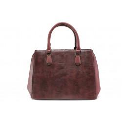 Елегантна дамска чанта с кроко мотив ФР 1530 бордо | Дамска чанта | MES.BG