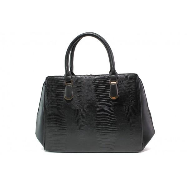 Елегантна дамска чанта с кроко мотив ФР 1530 черен | Дамска чанта | MES.BG