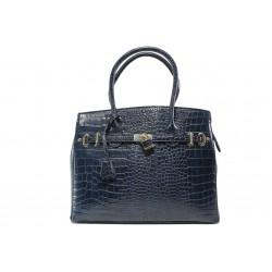 Елегантна дамска чанта с кроко мотив ФР 82 син | Дамска чанта | MES.BG