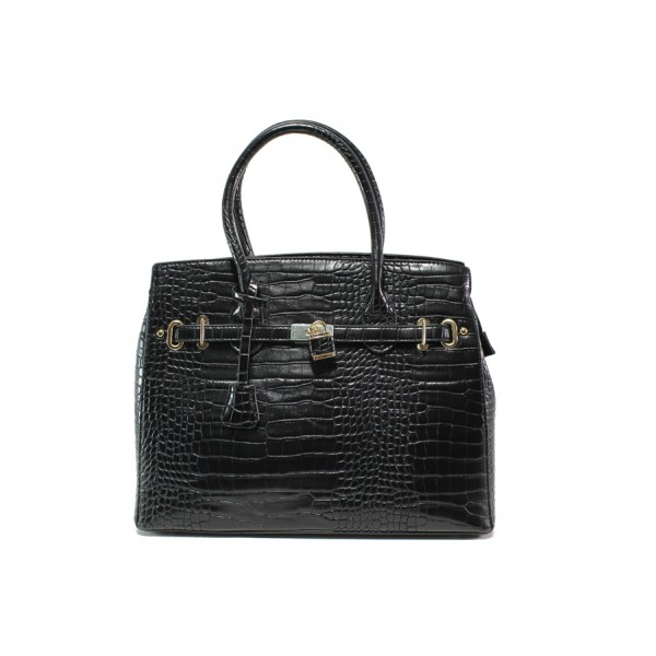 Елегантна дамска чанта с кроко мотив ФР 82 черен | Дамска чанта | MES.BG
