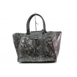 Модерна дамска чанта със змийски ефект ФР 630 сив | Дамска чанта | MES.BG