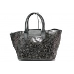 Модерна дамска чанта със змийски ефект ФР 630 сив   Дамска чанта   MES.BG