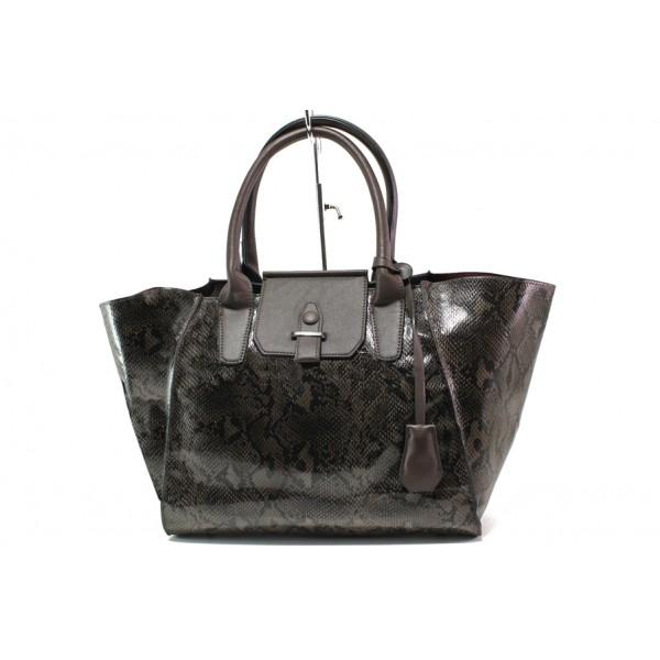 Модерна дамска чанта със змийски ефект ФР 630 кафяв | Дамска чанта | MES.BG