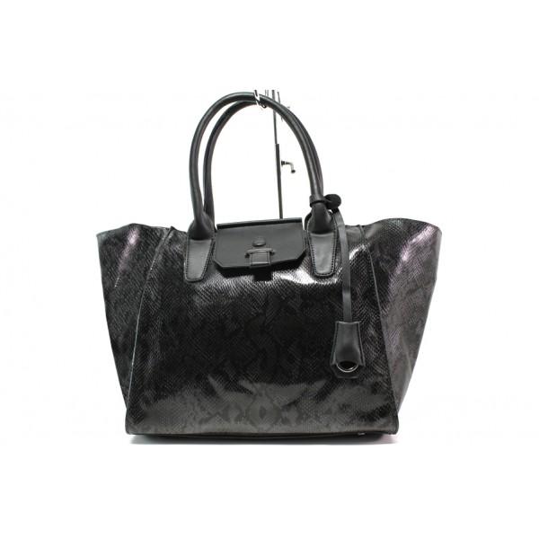 Модерна дамска чанта със змийски ефект ФР 630 черен | Дамска чанта | MES.BG