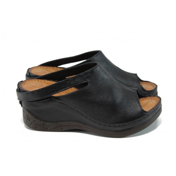 Анатомични дамски чехли /тип сабо/ от естествена кожа МИ 129-1 черен | Дамски чехли на платформа | MES.BG