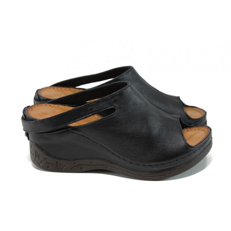 1bc16353529 Анатомични дамски чехли /тип сабо/ от естествена кожа МИ 129-1 черен | Дамски  чехли на платформа | MES.BG