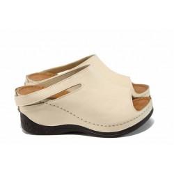 Анатомични дамски чехли /тип сабо/ от естествена кожа МИ 129-3 бежов | Дамски чехли на платформа | MES.BG