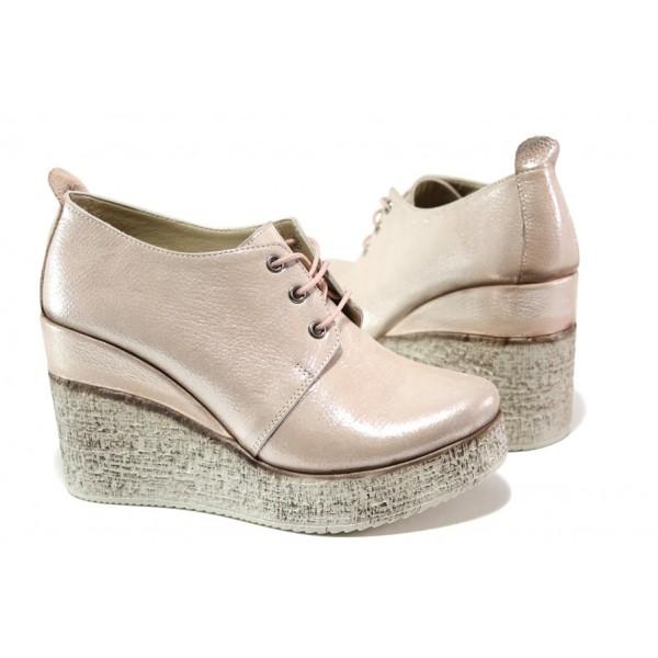Комфортни дамски обувки от естествена кожа МИ 448-254 розов сатен | Дамски обувки на платформа | MES.BG