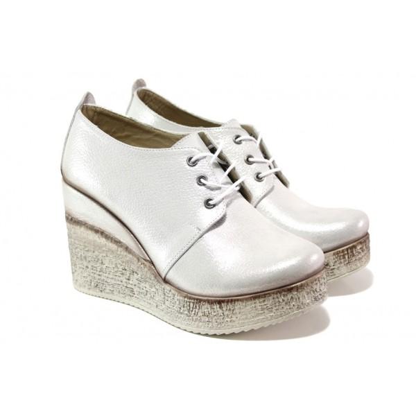 Комфортни дамски обувки от естествена кожа МИ 448-254 сребро | Дамски обувки на платформа | MES.BG