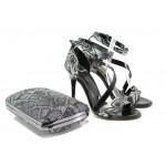 Елегантни дамски сандали МИ 1857 черен-сив | Дамски сандали на висок ток | MES.BG
