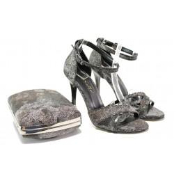 Елегантни дамски сандали МИ 1476 черен | Дамски сандали на висок ток | MES.BG