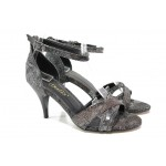 Елегантни дамски сандали МИ 1376 черен | Дамски сандали на висок ток | MES.BG