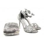 Елегантни дамски сандали МИ 1476 сив | Дамски сандали на висок ток | MES.BG