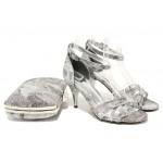 Елегантни дамски сандали МИ 1376 сив | Дамски сандали на висок ток | MES.BG