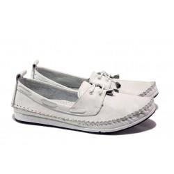Анатомични дамски мокасини от естествена кожа МИ 308 бял | Равни дамски обувки | MES.BG